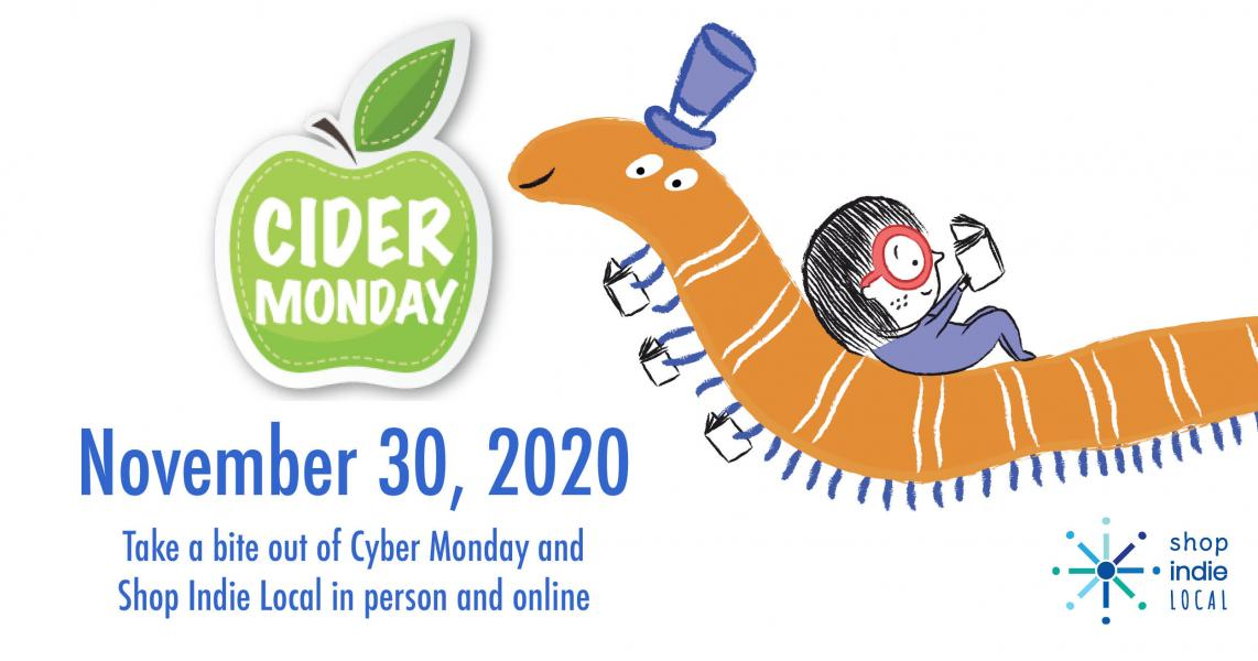 Cider Monday Shop Indie Local campaign 2020 green apple and worm and reader