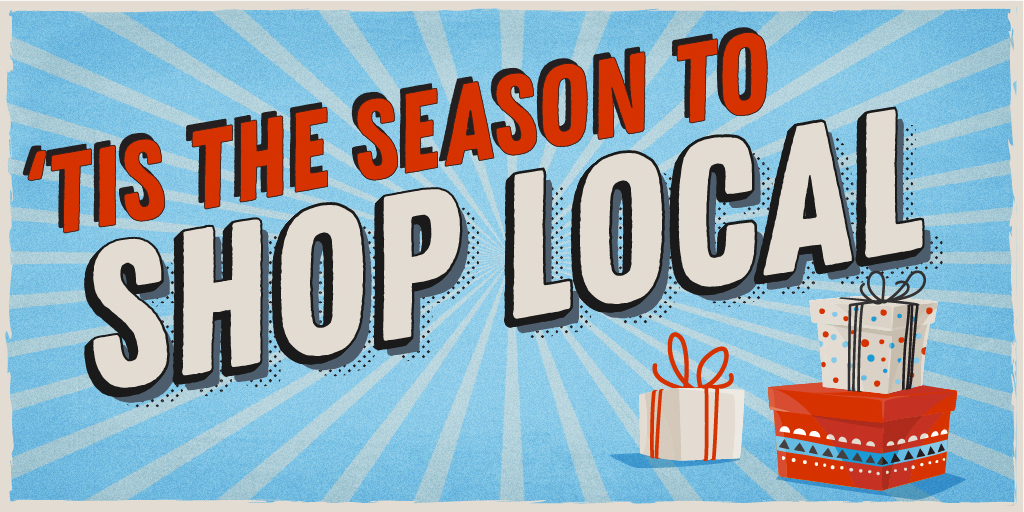 Tis the Season to Shop Local with red and blue gifts